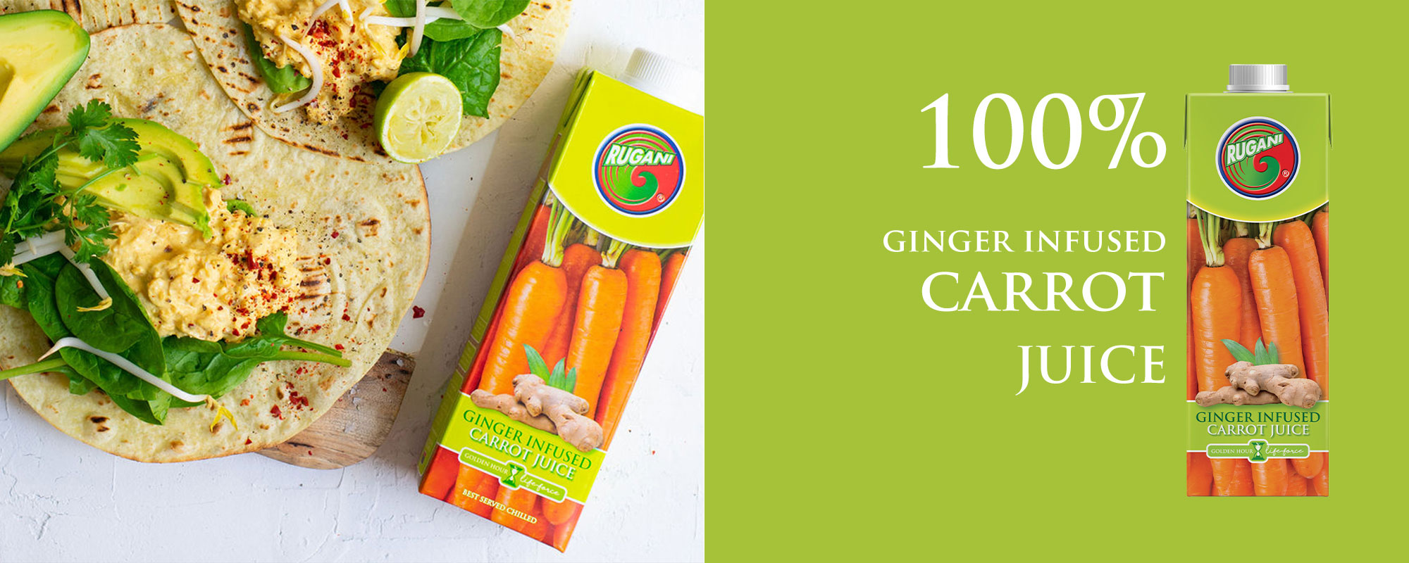 Rugani 100% Ginger Infused Carrot juice banner